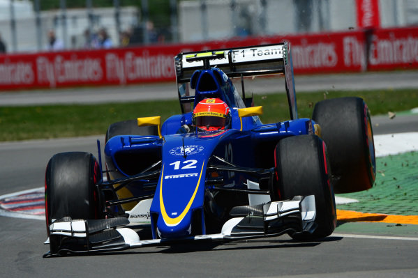 Felipe Nasr (BRA) Sauber C34 jumps across the kerb at Formula One World Championship, Rd7, Canadian Grand Prix, Qualifying, Montreal, Canada, Saturday 6 June 2015.
