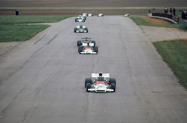 1972 International Trophy.  Silverstone, England. 23rd April 1972.  Jean-Pierre Beltoise, BRM P160, 2nd position, leads Peter Gethin, BRM P160, 6th position, and Emerson Fittipaldi, Lotus 72 Ford, 1st position, on Hangar straight.  Ref: 72IT02. World Copyright: LAT Photographic