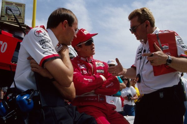 Al Unser Jr (USA) Penske Racing talks with his engineers.PPG IndyCar World Series, Indianapolis 500, Indianapolis, USA, 9-13 May 1994.