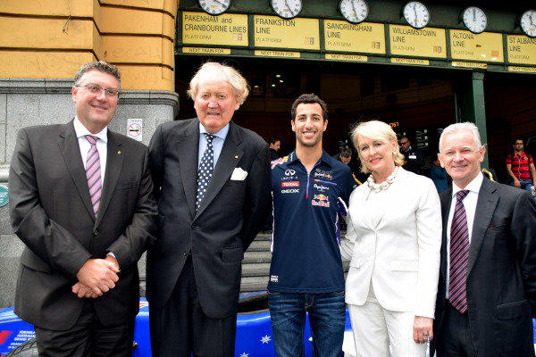 (L to R): John Harnden (AUS) Vice Chairman of the Australian Grand Prix Corporation; Ron Walker (AUS) Chairman of the Australian GP Corporation and Daniel Ricciardo (AUS) Red Bull Racing help to launch the 2015 Australian Grand Prix in Melbourne. 2015 Australian Grand Prix Launch, Melbourne, Australia, 11 December 2014.