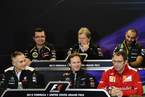 The Team Principals press conference. Front row (L to R): Martin Whitmarsh (GBR) McLaren Chief Executive Officer; Christian Horner (GBR) Red Bull Racing Team Principal; Stefano Domenicali (ITA) Ferrari General Director. Back row (L to R): Eric Boullier (FRA) Lotus F1 Team Principal; Norbert Haug (GER) Mercedes Sporting Director; Cyril Abiteboul (FRA) Caterham CEO. Formula One World Championship, Rd19, United States Grand Prix, Practice, Austin, Texas, Friday 16 November 2012.