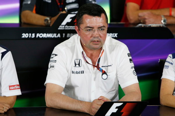 Silverstone Circuit, Northamptonshire, England. Friday 3 July 2015. Eric Boullier, Racing Director, McLaren, in the Team Principals Press Conference. World Copyright: Andrew Ferraro/LAT Photographic ref: Digital Image _FER1969