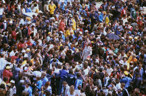 1980 Le Mans 24 Hours. Le Mans, France. 14th - 15th June 1980. Jean Rondeau / Jean-Pierre Jaussaud (Rondeau M379B Ford), 1st position, are mobbed at the finish of the race, portrait.   World Copyright: LAT Photographic. Ref: 80LM25.