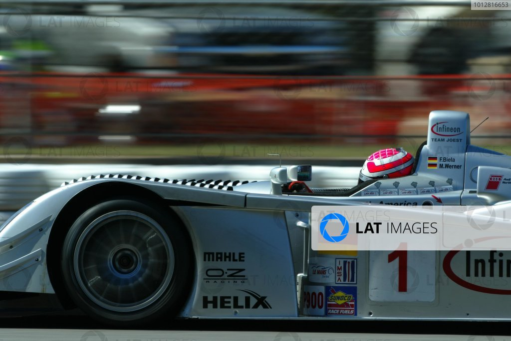 2003 ALMS Petit LeMansMarco Werner's Audi is having body fit problems during Wednesday practice.September 15 - 18, 2003, Winder, GA, USA,Copyright: Richard Dole/LAT Photographic