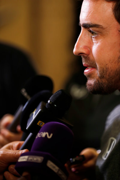 Bahrain International Circuit, Sakhir, Bahrain.  Wednesday 12 April 2017. Fernando Alonso talks to the media after announcing his deal to race in the 2017 Indianapolis 500 in an Andretti Autosport run McLaren Honda car. World Copyright: Glenn Dunbar/LAT Images ref: Digital Image _31I6955