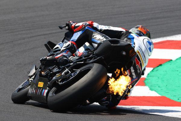Michael van der Mark, BMW Motorrad WorldSBK Team, Flames from exhaust.