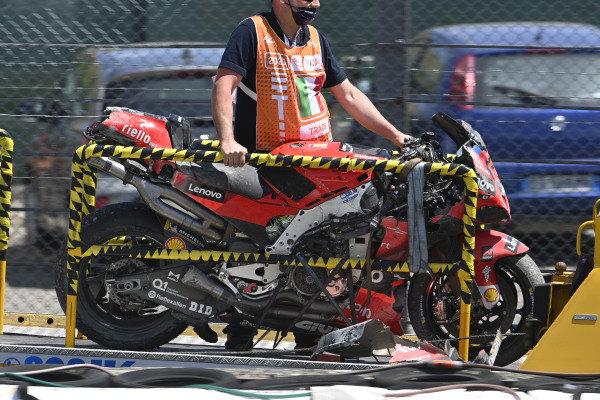 Francesco Bagnaia, Ducati Team crashed bike.