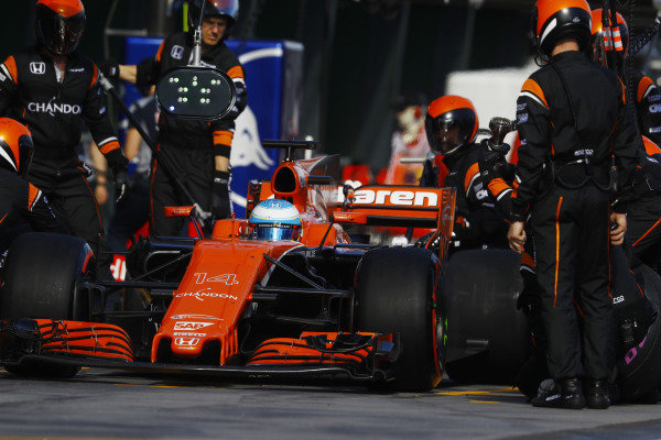 Fernando Alonso (ESP) McLaren MCL32 pit stop at Formula One World Championship, Rd1, Australian Grand Prix, Race, Albert Park, Melbourne, Australia, Sunday 26 March 2017.
