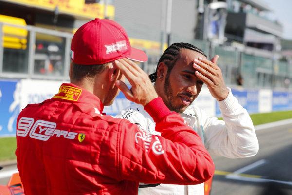 Lewis Hamilton, Mercedes AMG F1, and Sebastian Vettel, Ferrari, after qualifying