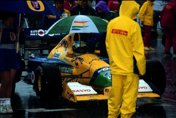 1991 Australian Grand Prix.Adelaide, Australia.1-3 November 1991.Michael Schumacher (Benetton B191 Ford) waiting on the grid at the start. He exited the race after colliding with Alesi on lap 6.World Copyright - LAT Photographic
