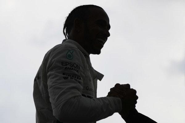 Lewis Hamilton, Mercedes AMG F1, celebrates victory.