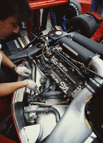 Detail of the Porsche-built TAG engine in the McLaren MP4-1E of Niki Lauda, which was making its race debut,  during practice.