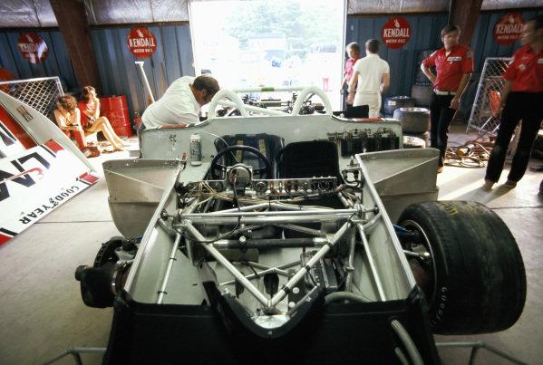 The Roger Penske Enterprises, Porsche 917/10 TC of Gerge Follmer in its garage.
