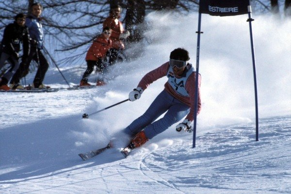 Sestriere, Italy. 1983. Riccardo Patrese participates in a ski race for Formula 1 drivers