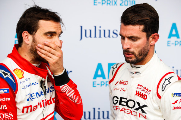 Edoardo Mortara (CHE) Venturi Formula E, Venturi VFE05 and Jose Maria Lopez (ARG), GEOX Dragon Racing, Penske EV-3 in the media pen