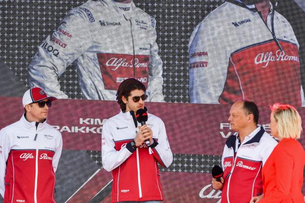 Kimi Raikkonen, Alfa Romeo Racing, Antonio Giovinazzi, Alfa Romeo Racing and Frederic Vasseur, Team Principal, Alfa Romeo Racing at the Federation Square event.