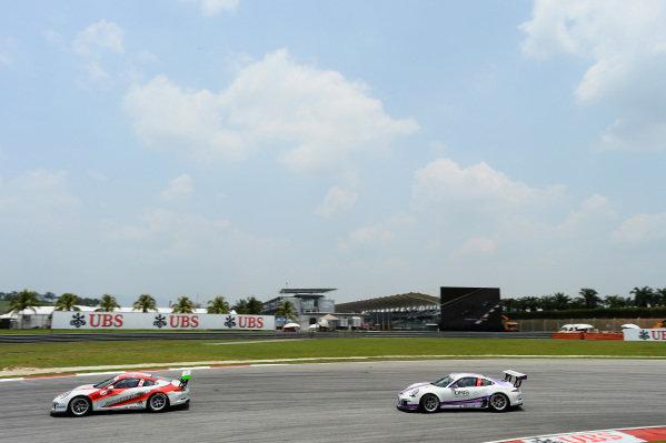 John Shen (HKG) Modena Motorsports and Daniel Bilski (HKG) Daniel Bilski. Porsche Carrera Cup Asia, Sepang, Malaysia, 28-30 March 2014.