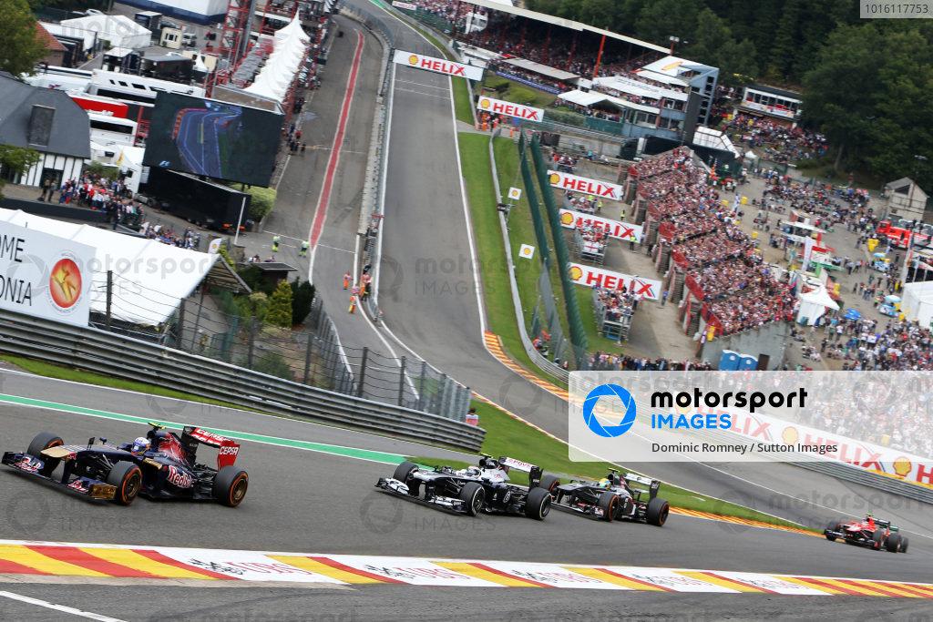 Daniel Ricciardo (AUS) Scuderia Toro Rosso STR8. Formula One World Championship, Rd11, Belgian Grand Prix, Race Day, Spa-Francorchamps, Belgium, Sunday 25 August 2013.